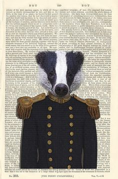 Badger Admiral Dandy Illustration Beautifully by PigAndGin on Etsy, $10.00
