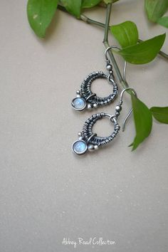 Moonstone Silver Wire Wrapped Earrings. Antique Silver