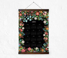 2015 Wall calendar  Folk Art Floral Calendar by DURIDO on Etsy
