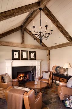 Exposed Ceiling Beams Living Room   ideas for Foxy Living Room Farmhouse design ideas with barn beams ...