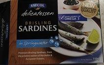 SAFCOL EUROPEAN SARDINES IN SPRINGWATER http://reviewclue.com.au/safcol-brisling-sardines-in-springwater/