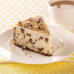 Chocolate Chip Cookie Cheesecake Recipe -Our daughter first astounded us with her cooking talents when she made this cheesecake at 13 years of age. With a unique cookie crumb crust and extra-creamy filling, people think this dessert was made by a gourmet baker! —Kathleen Gualano, Cary, Illinois