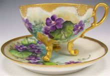 exceptional antique French Limoges hand painted violets tea cup and saucer ~ rare molding ~ footed ornate Roman gold ~ French floral art ~ circa 1900 Painted Cups, Hand Painted, Antique Tea Cups, Vintage Teacups, Sweet Violets, Teapots And Cups, China Tea Cups, My Cup Of Tea, Antique China