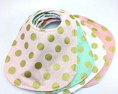 Girl Baby Bibs ~Blush Pink Mint White With Gold Polka Dots Drool Bibs ~ You Choose Fancy Minky Bibs ~ Ready to Ship ~ Shabby Chic ~Glam Baby #bibs #etsy