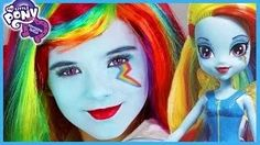 My Little Pony Rainbow Dash Makeup Tutorial! Equestria Girl Doll Cosplay | Kittiesmama - YouTube