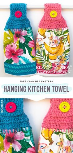 A crochet towel will add fresh charm to your kitchen this season! These Colorful Kitchen Towels are easily washable and have a long life span. Crochet Towel Holders, Crochet Dish Towels, Crochet Towel Topper, Crochet Kitchen Towels, Crochet Dishcloths, Kitchen Towels Crafts, Crochet Diy, Crochet Geek, Crochet Crafts