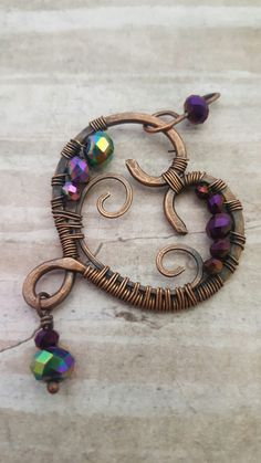 Copper wire wrapped heart pendant with crystals