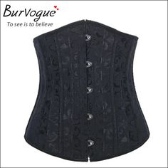 Burvogue Woman Waist Cincher Corselet Body Shaper Sexy Waist Control underbust Corsets  Bustiers Black Satin Steel Bone Corset Like and share if you think it`s fantastic! Get it here