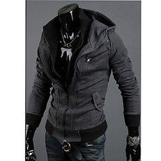 Casual manga larga con capucha de la blusa Kuxing Hombres (DarkGray) – USD $ 17.99