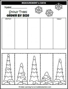 Winter Trees Order By Size (cut and paste) - Madebyteachers Free Winter Order By Size Activity. Cut and paste the trees in order by size. Free Preschool, Preschool Worksheets, Preschool Learning, Kindergarten Activities, Winter Activities, Printable Worksheets, Printables, Christmas Worksheets, Christmas Math