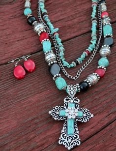 Blossom Turquoise Cross Necklace Set http://www.dumbblondeboutique.com/bltucrneset.html