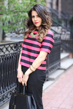 What to Wear to Work | Pink Striped Crop Top |Corporate Catwalk by ...
