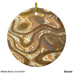 Molten Rust Double-Sided Ceramic Round Christmas Ornament