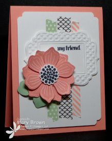 Bloom for You, And Many More  Paper: Whisper White, Pistachio Pudding, Cantaloupe Crisp  Ink: Memento Black, Cantaloupe Crisp  Other: Fun Frame Embossing Folder, Sweet Sadie Washi Tape, Fun Flower Punch, 7/8″ Scallop Circle Punch, Label Bracket Punch, Dimensionals