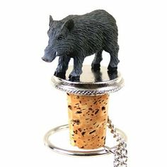 """Razorback Hog Bottle Stopper by Conversation Concepts. $13.99. The Animal Bottle Stoppers measure approximately 1 1/2"""" to 2"""" tall. Each unique Bottle Stopper has a solid plated base and 6"""" long chain, with a cork bottle stopper designed to fit any standard wine bottle. Using our Tiny One series of specie specific figurines, your animal will be the toast of the town when we mount one of our detailed, hand painted stone resin figurines on the top of this item. These are indiv..."""