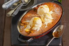 Easy apple and caramel self-saucing pudding
