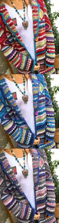 Hot Sale!Winter Loose Multicolor Vintage Print Ethnic Cardigan Sweater Coat Sweater Coats, Sweater Cardigan, Sweaters, Old Key Crafts, Crochet Fashion, Crochet Clothes, Vintage Prints, Arm Warmers, Plaid Scarf