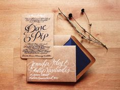 Navy hand lettering on wood, or kraft, would be amazing. Wedding invite via Hazel Wonderland
