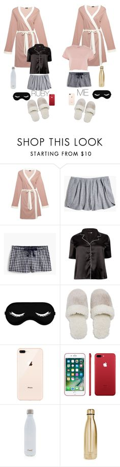 """""""Sleepover!:)❤️"""" by elliejee ❤ liked on Polyvore featuring Cosabella, Madewell, J.Crew, Boohoo, Natori, Apple, S'well and Topshop"""