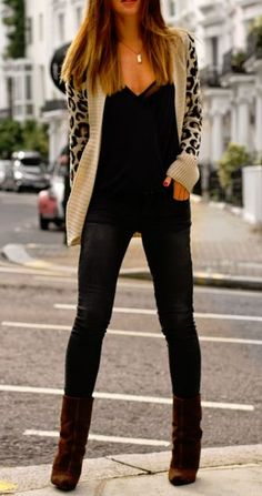 Love the chunky cardigan, skinny pants, and fitted top look. Do I go leather look skinny pants/leggings??? Will this fly in CA?