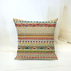 Bohemian Style Colorful Stripes Cotton Linen Throw Pillow Case Cushion Cover Home Office Decorative Square 18 X 18 Inches ** Be sure to check out this awesome product. (This is an Amazon Affiliate link and I receive a commission for the sales)