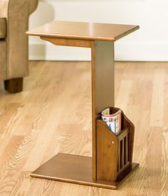 Mission-Style Snack Table w Magazine Rack in Walnut Finish