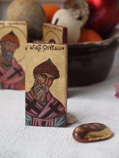 Miniature icon of St Spyridon the wonderworker- hellenic orthodox saint original handmade byzantine icon, religious painting- christian art