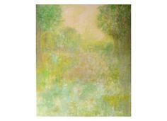French landscape Meadow impressionist painting green Tree Nature Artwork Wall art Home decor Original gift for women mum sister girl bedroom
