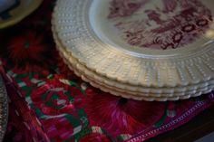Vintage dinner plates with Chiapas placemat