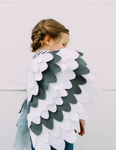 White and grey wing cape. Great for snowy owl costume (like Hedwig from Harry Potter) or a seagull or pigeon costume