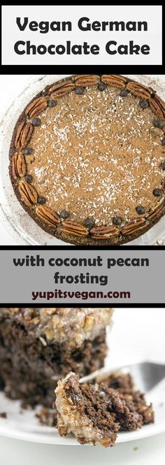 Vegan German Chocolate Cake: Fluffy layers of egg-free, dairy-free chocolate cake, topped with decadent toasted coconut pecan custard frosting. via @yupitsvegan
