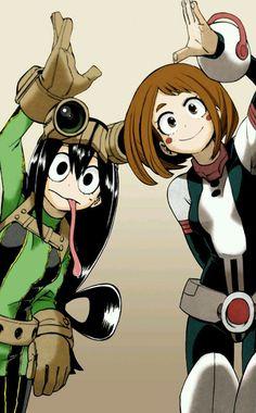 Uraraka ochako and tsuyu asui. so far these two are my favorite Boku No Hero Academia, My Hero Academia Tsuyu, My Hero Academia Manga, Tsuyu Asui, Boku No Hero Tsuyu, Asui Boku No Hero, Hero Academia Characters, My Hero Academia Episodes, Anime Characters