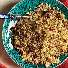 Tried this last night and it was a big hit.  I used chopped almonds instead of pistachios.  Did you know that quinoa (pron KEEN-wah) is the grain highest in protein?