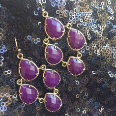 Kendra Scott Earrings Dangle earrings with purple stones set in gold tone hardware Kendra Scott Jewelry Earrings