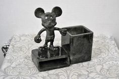 Disney Mickey Mouse Desk Pen Pencil Notepad Caddy Accessory Plastic Gray Marble