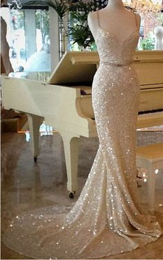 New Champagne Sequins Mermaid Prom Formal Evening Wedding Party Bridesmaid Dress