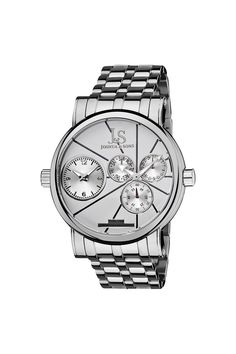Joshua & Sons Dual Time Stainless Steel Watch