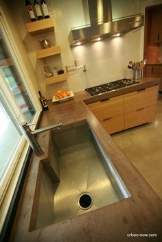 Custom Concrete counters and bamboo cabinets i designed an made. Benson Benson Hamm I want concrete counter tops! Concrete Kitchen Counters, Granite Kitchen, Buy Kitchen, Kitchen Modern, Concrete Sink, Poured Concrete, Modern Kitchens, Stained Concrete, Kitchen Stuff