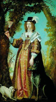 1643 Leonora Christine med hunde by Karel van Mander