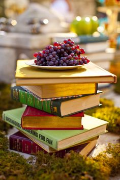 a book stand food display.