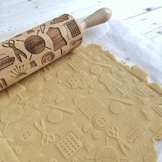 SEWING Embossing rolling pin laser engraved rolling by Texturra