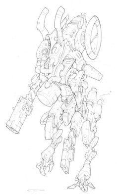 Sketch Inspiration, Character Design Inspiration, Anime Lineart, Gundam Art, Robot Concept Art, Cool Sketches, Art Lessons, Game Art, Art Reference