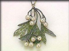 Lalique 1900 signed Enamel & Pearl Pendant: designed as a hanging bough, the leaves & berries decorated w/ plique-à-jour enamel & pearls on a gold & enamel necklet. sothebys.com