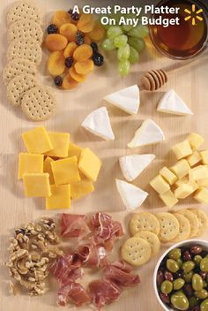 """Wow"" your guests with an ultimate party platter. It's as easy as 3+3+3: 1.) Start with 3 cheeses (we recommend sharp cheddar, brie and gouda). Set cheese out an hour before your party for the best flavor. 2.) Add 3 savory items (like olives, ham and nuts). 3.) Complete with 3 sweets (say, grapes, dried apricots and raisins). 4.) Label using toothpicks, sticky notes and a pen. Serve as an appetizer or after dinner. Check out more Walmart party-planning tips and tricks to fit any budget."