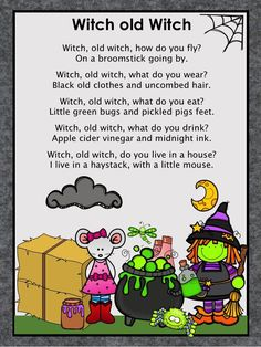 Includes fun activities about the nursery rhyme Witch, Old Witch. It serves as more than a thematic resource and teaches concepts in the context of the rhyme. Halloween Nursery Rhymes, Nursery Rhymes Preschool, Music Activities, Activities For Kids, Display Ideas Nursery, Witch Quilt, Rhyming Pictures, Room On The Broom, Teacher Freebies
