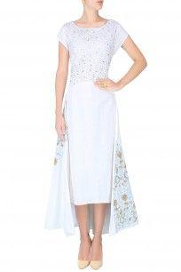 White Floral Embroidered High Low Dress #embroidery #highlowdress #whitefloral #indianfashion #RavagebyRajShroff #perniaspopupshop #happyshopping