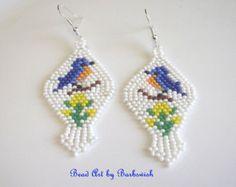 Bluebirds Native American Style Handwoven Seed Bead Earrings