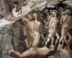 Dettaglio dell'Inferno sui dannati. Dal Giudizio Universale ~ Giovanni da Modena, 1410. Basilica di San Petronio, Bologna