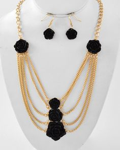 Gold Tone / Black Acrylic / Lead Compliant / Flower / Multi Row / Necklace & Fish Hook Earring Set