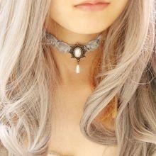10e20416d687 Cordón real del Vintage de la novia collares y colgantes mujeres accesorios joyería  collar de la
